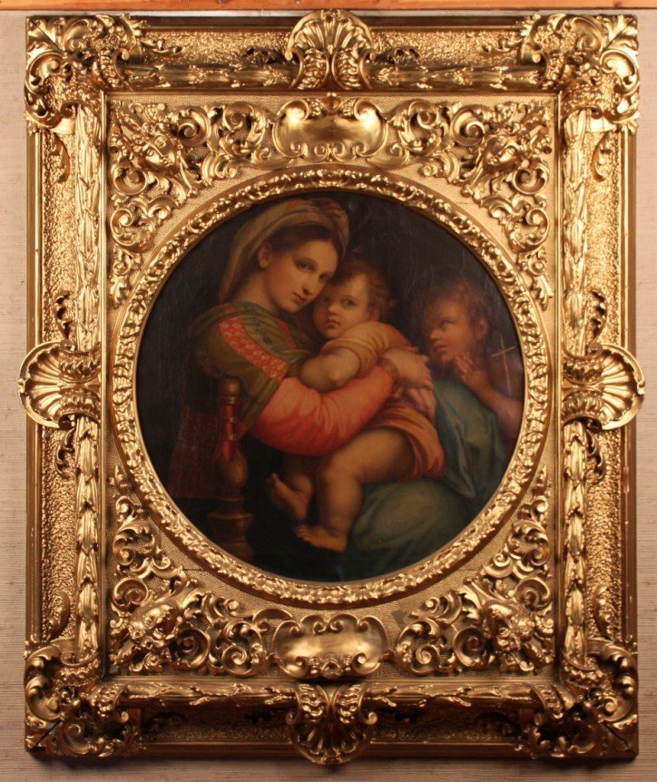 "19TH C. OIL ON CANVAS PAINTING TITLED ""MADONNA DELLA"