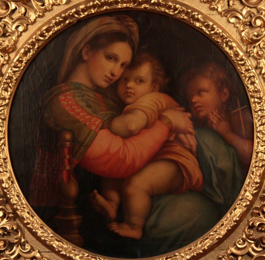 "19TH C. OIL ON CANVAS PAINTING TITLED ""MADONNA DELLA - 2"