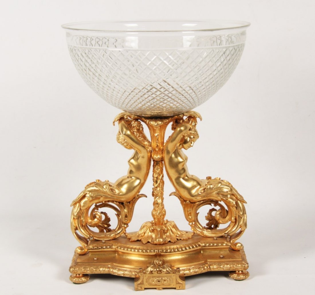 LARGE FRENCH DORE BRONZE AND CRYSTAL CENTER PIECE