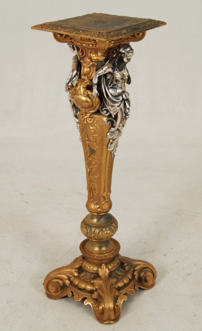 FRENCH GILT AND SILVER METAL PEDESTAL - 4