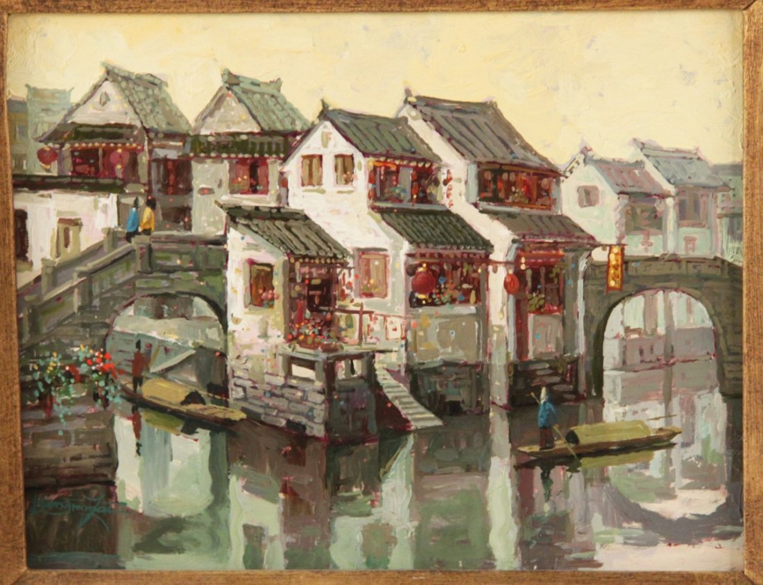 """DONGMIN LAI, OIL PAINTING ON ART BOARD TITLED """"SUZHOW"""""""