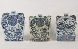 GROUP OF 3 MISCELLANEOUS CHINESE BLUE AND WHITE PILLOW