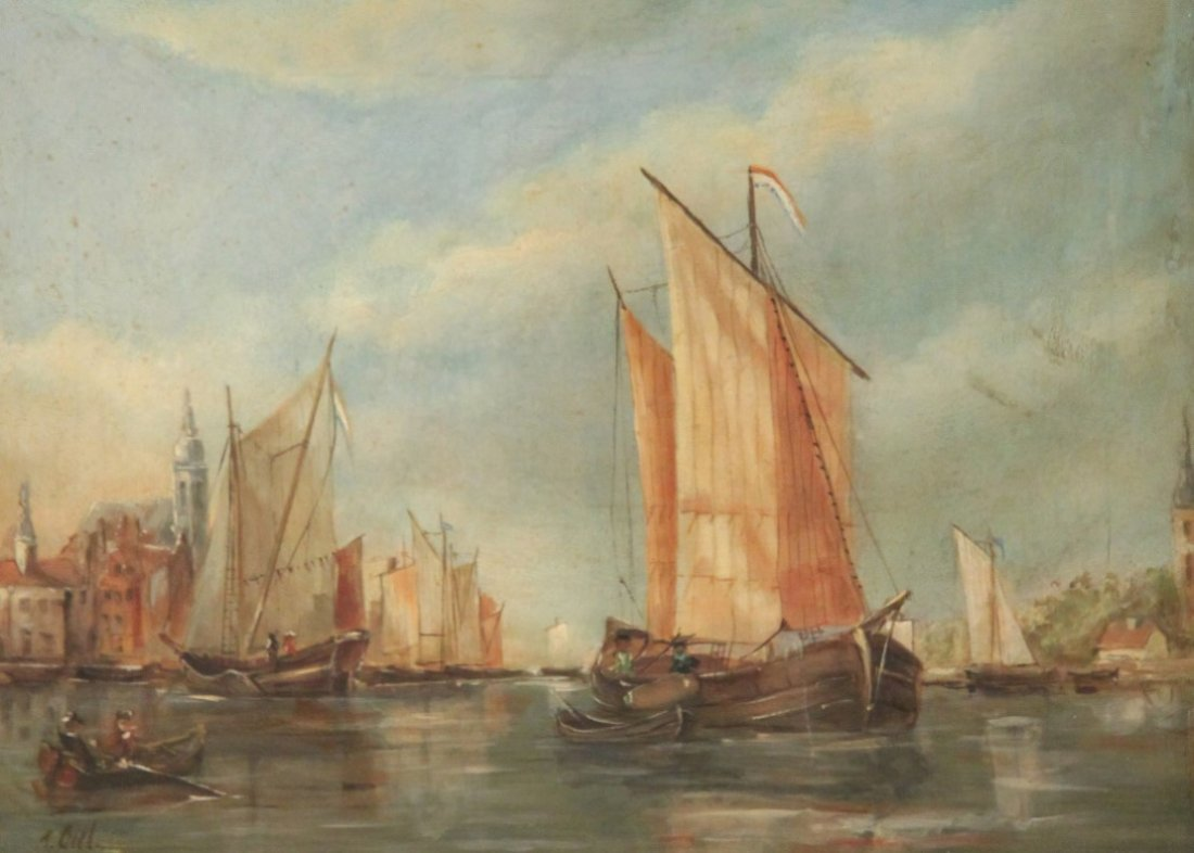 GIEL, OIL ON CANVAS HARBOR SCENE PAINTING