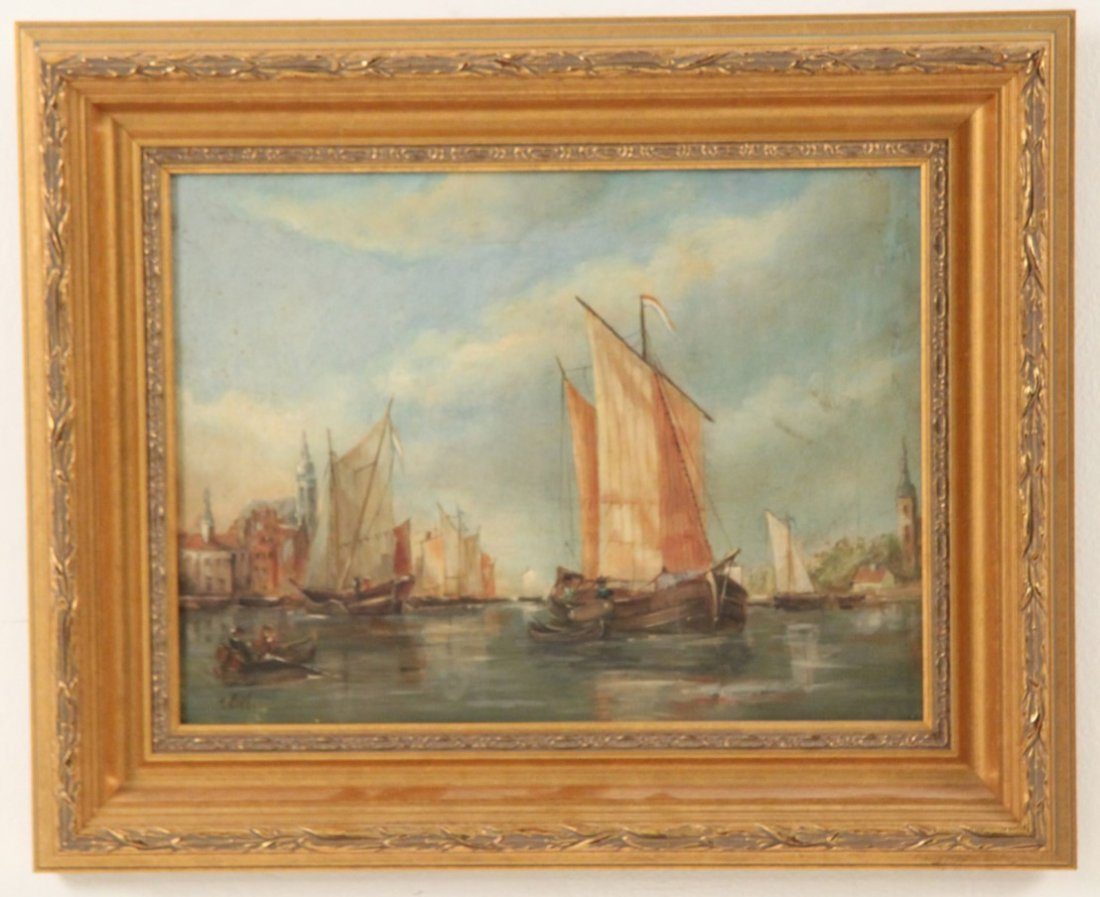 GIEL, OIL ON CANVAS HARBOR SCENE PAINTING - 2