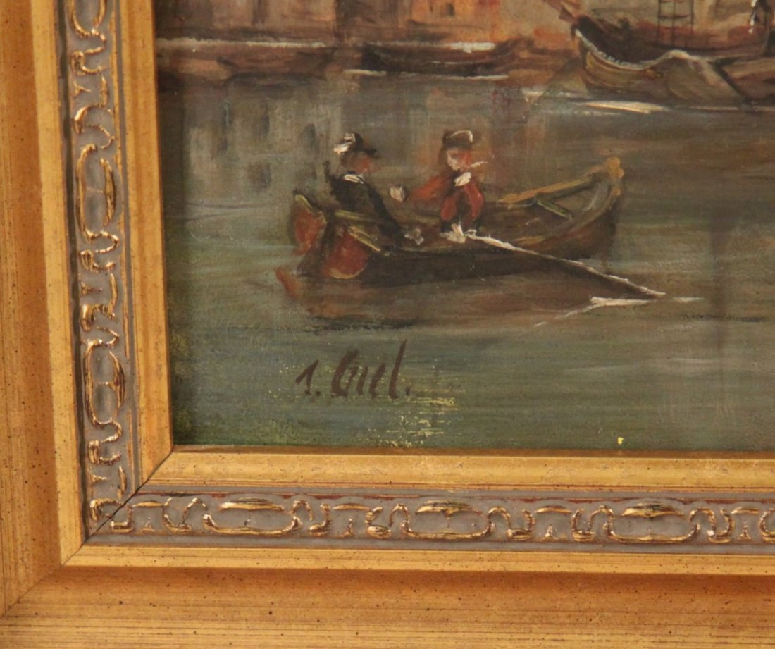 GIEL, OIL ON CANVAS HARBOR SCENE PAINTING - 3