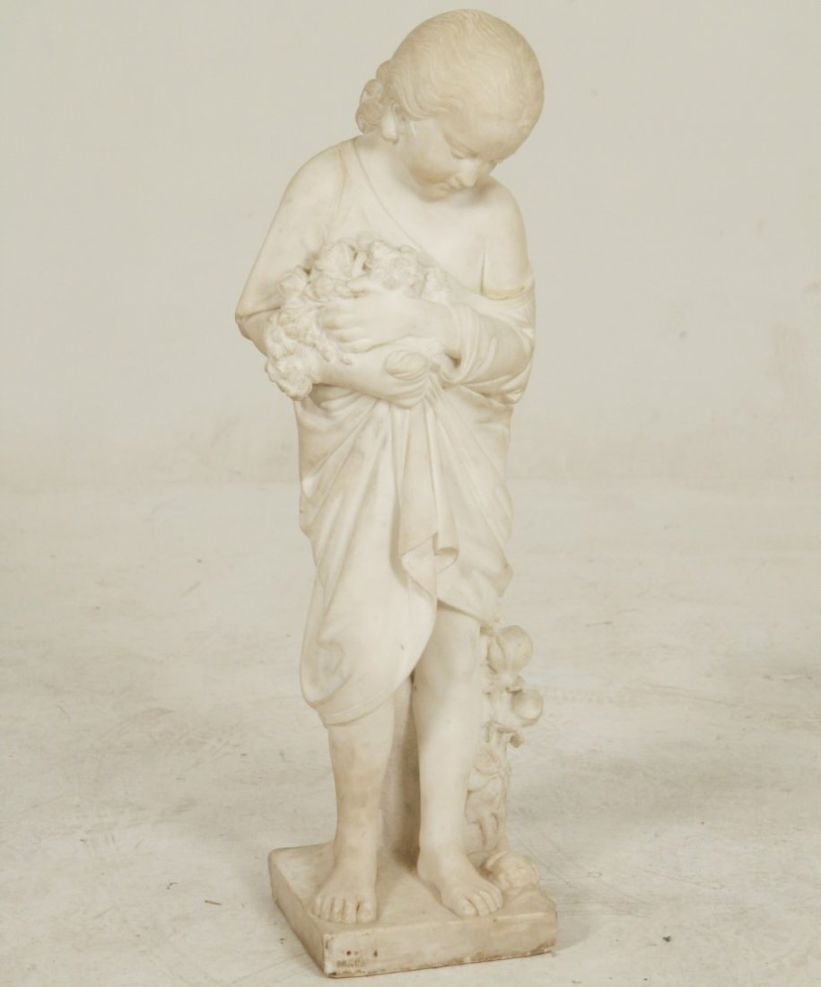 ITALIAN WHITE CARRARA CARVED SCULPTURE OF YOUNG GIRL