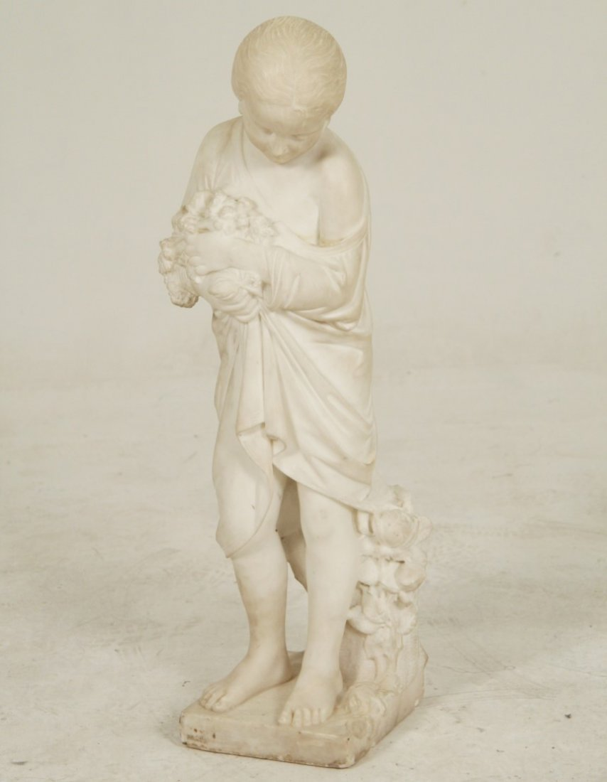 ITALIAN WHITE CARRARA CARVED SCULPTURE OF YOUNG GIRL - 2