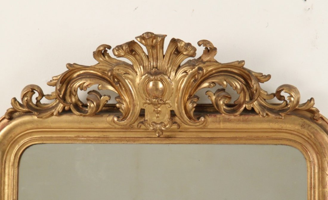 19TH C. FRENCH CARVED GILTWOOD MIRROR - 2