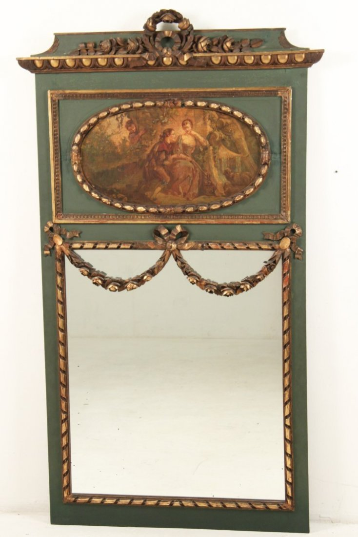 FRENCH POLYCHROME AND CARVED GOLD GILT TRUMEAU MIRROR