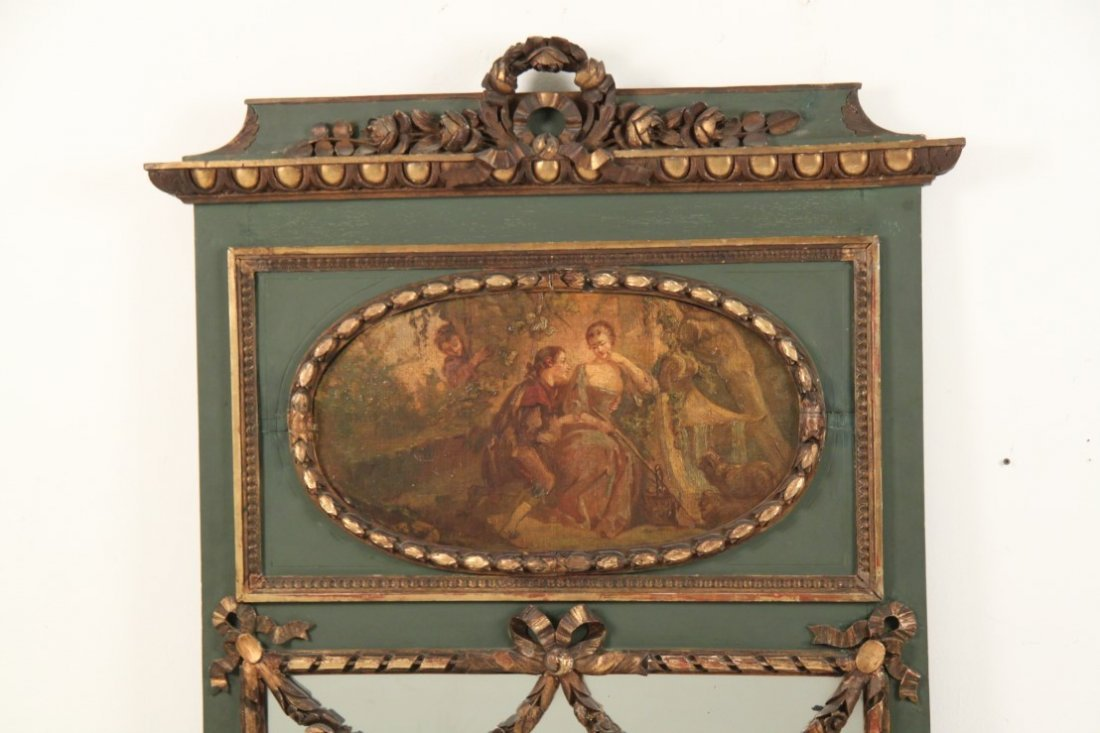 FRENCH POLYCHROME AND CARVED GOLD GILT TRUMEAU MIRROR - 2