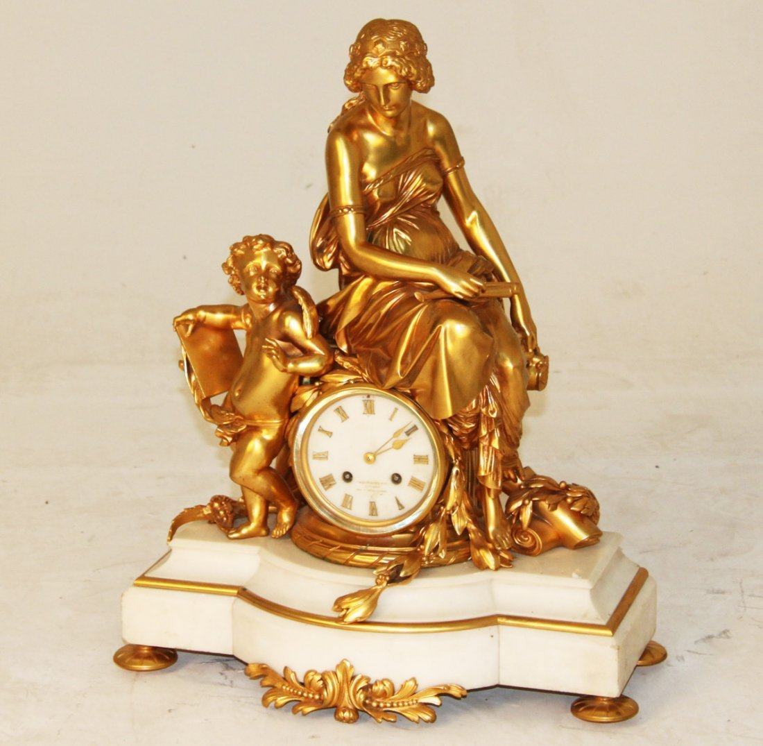 FRENCH DORE BRONZE AND MARBLE FIGURAL CLOCK