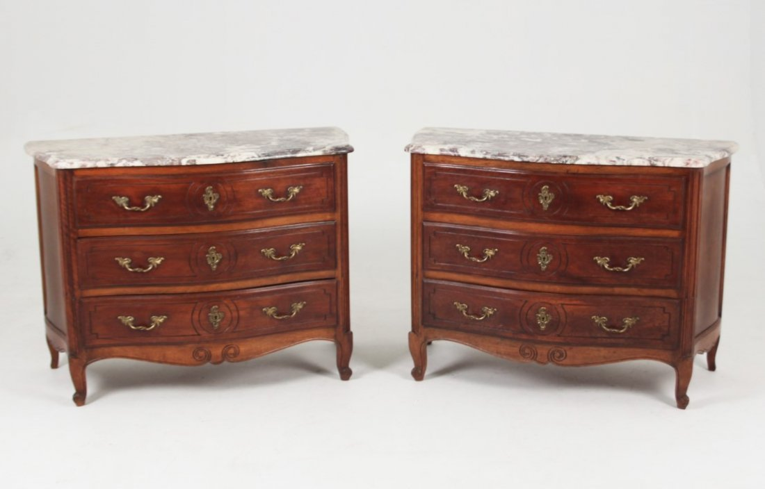 PAIR OF LOUIS XV PROVINCIAL CARVED WALNUT SERPENTINE