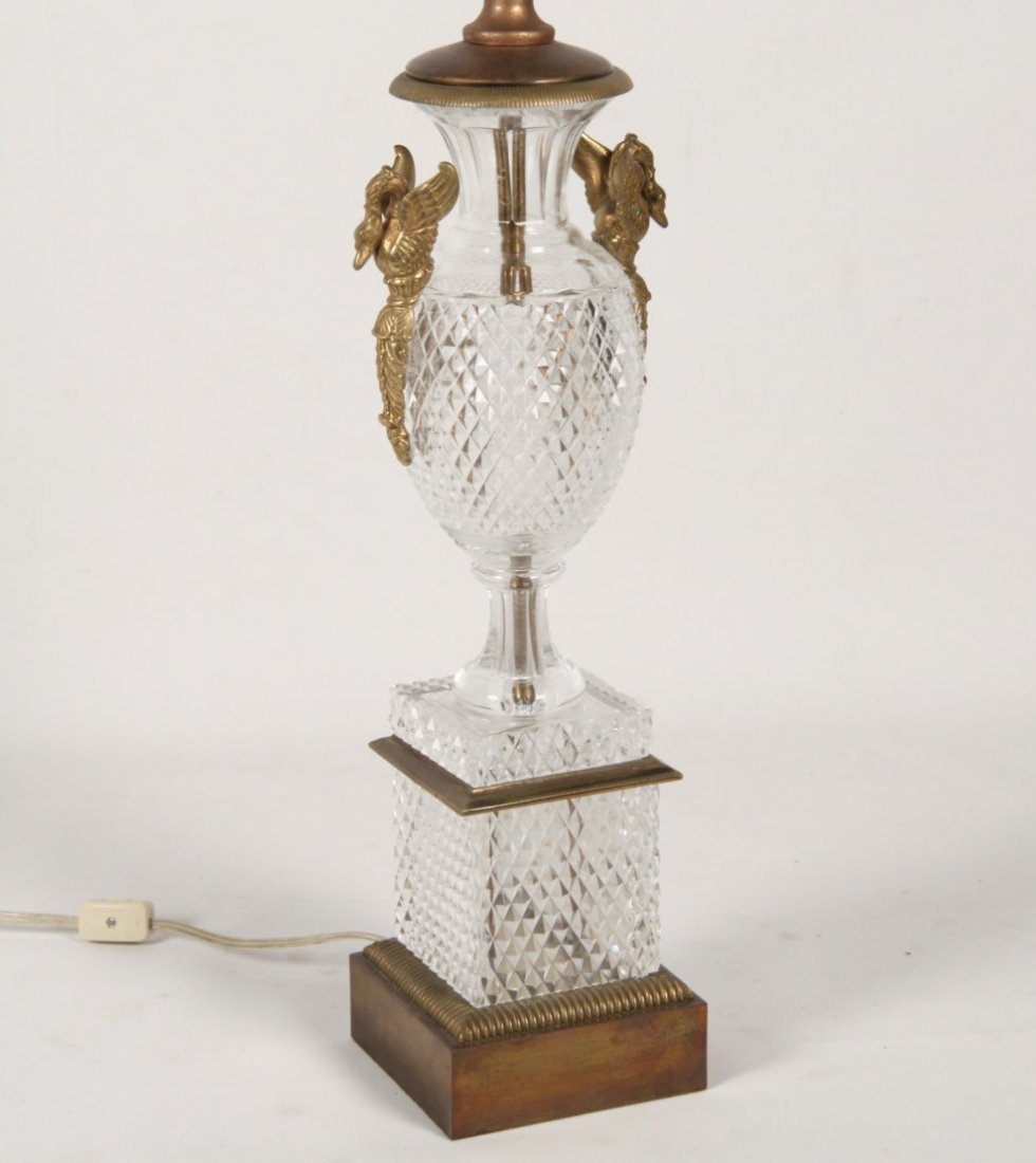 FRENCH BACCARAT CUT CRYSTAL PEDESTAL BRONZE MOUNTED URN - 2