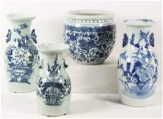 4 PIECE MISCELLANEOUS LOT OF CHINESE BLUE AND WHITE