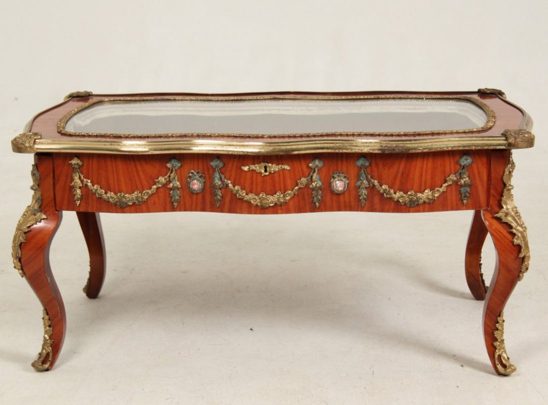 LOUIS XV STYLE BRONZE MOUNTED LOW SPECIMAN TABLE - 2