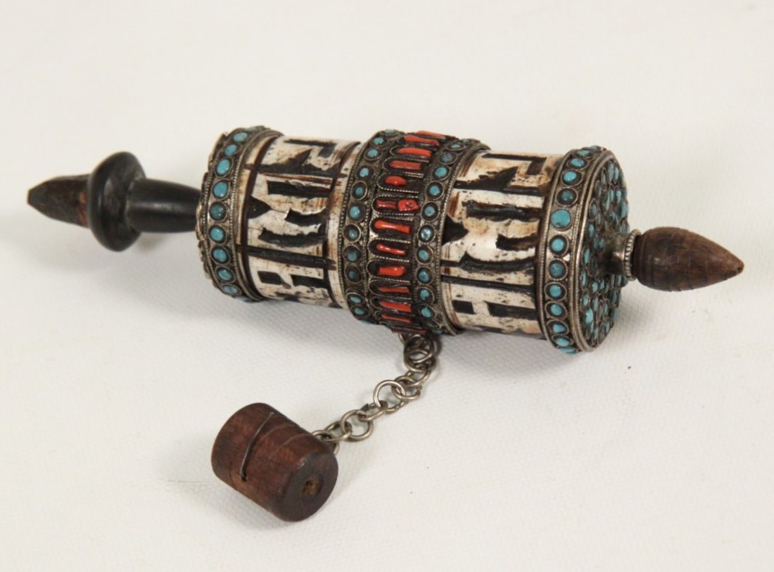 TIBETAN SILVER PRAYER WHEEL WITH PAPYRUS SCROLL