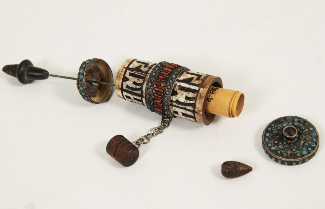 TIBETAN SILVER PRAYER WHEEL WITH PAPYRUS SCROLL - 2