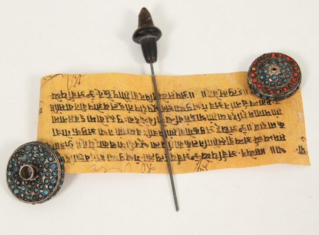 TIBETAN SILVER PRAYER WHEEL WITH PAPYRUS SCROLL - 3
