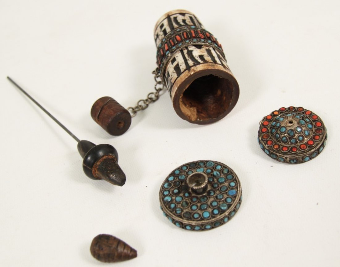 TIBETAN SILVER PRAYER WHEEL WITH PAPYRUS SCROLL - 4
