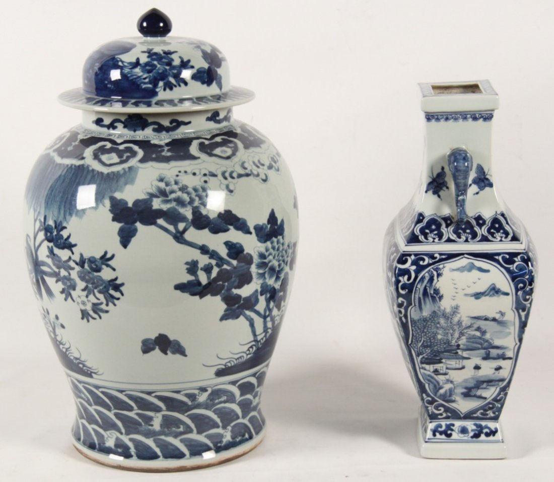 2 PIECE MISCELLANEOUS LOT OF CHINESE BLUE AND WHITE - 2