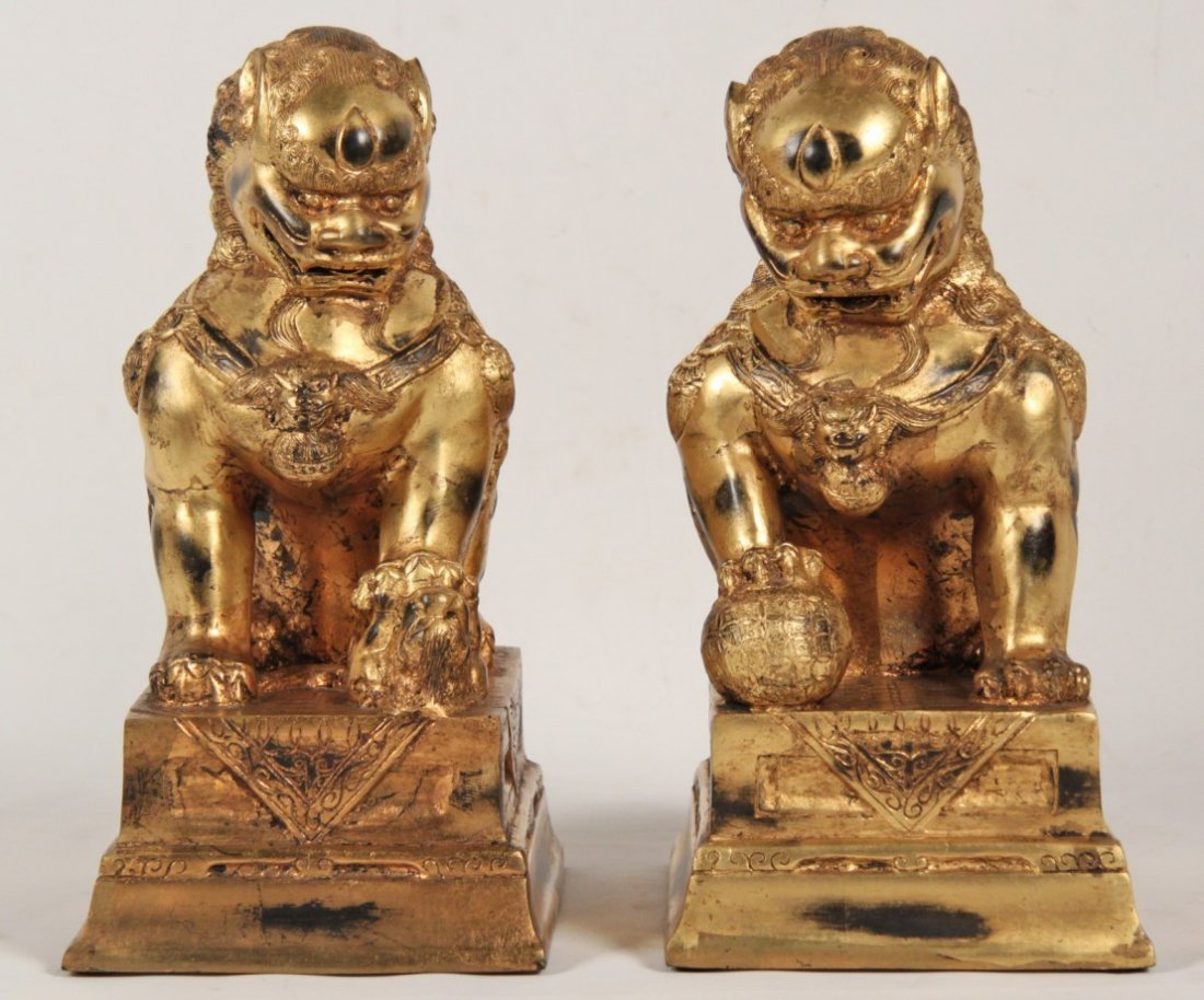 PAIR OF ORIENTAL GILT BRONZE FOO DOGS