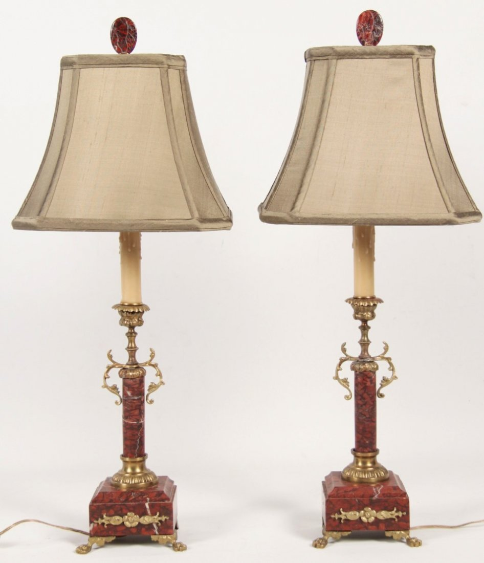 PAIR OF FRENCH GILT BRONZE MOUNTED ROUGE MARBLE