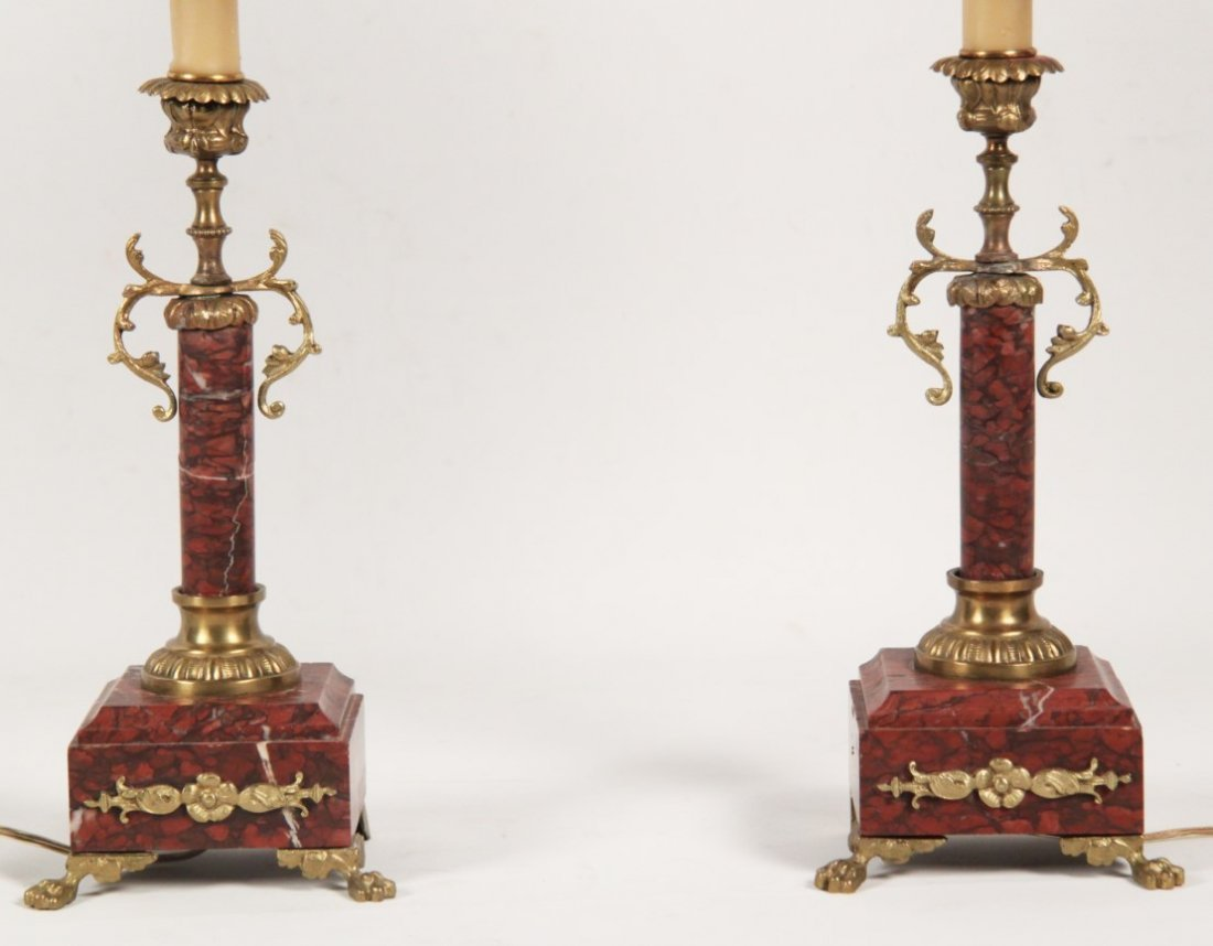 PAIR OF FRENCH GILT BRONZE MOUNTED ROUGE MARBLE - 2