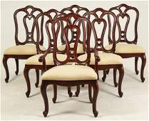 SET OF 6 OPEN WORK MAHOGANY DINING CHAIRS BY ETHAN