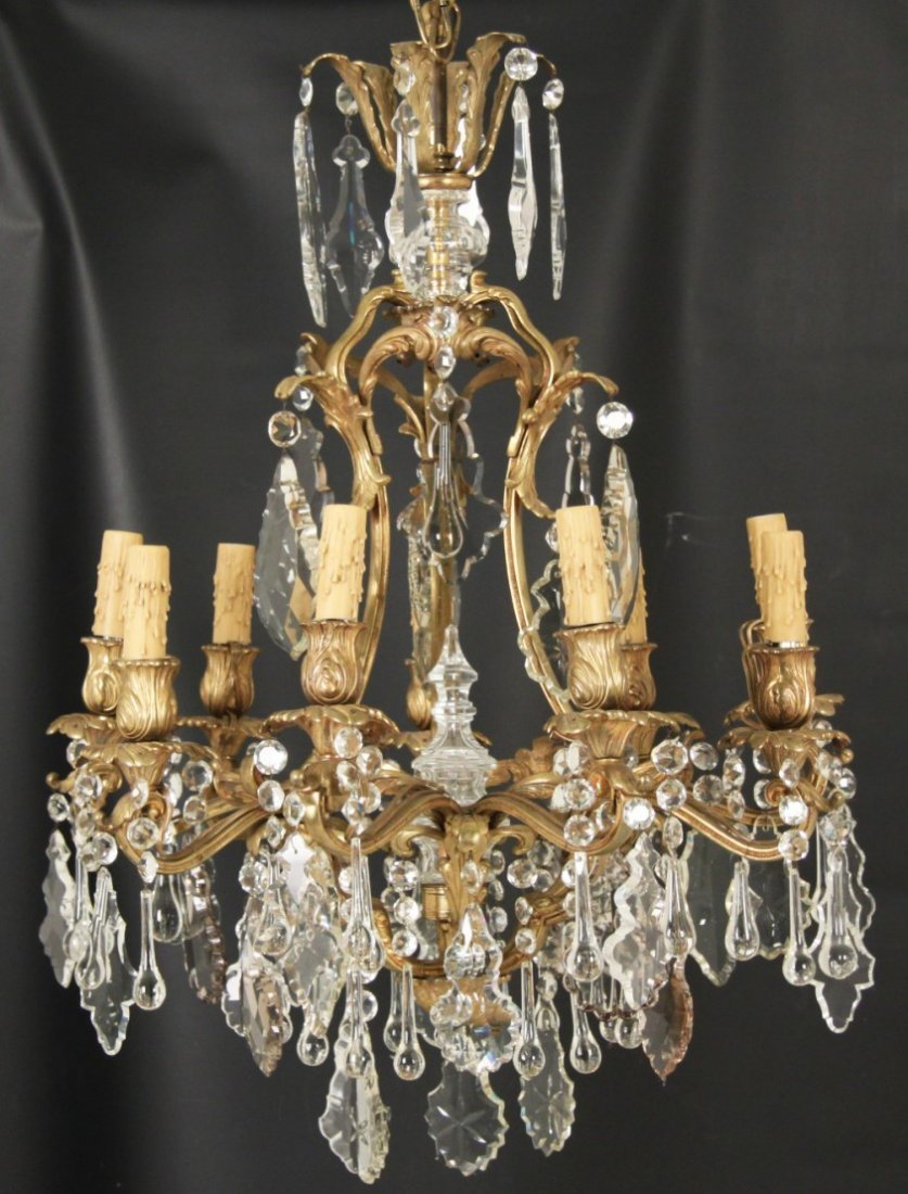 LOUIS XV STYLE GILT BRONZE 9 LIGHT CHANDELIER