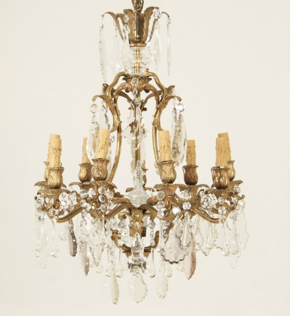 LOUIS XV STYLE GILT BRONZE 9 LIGHT CHANDELIER - 2
