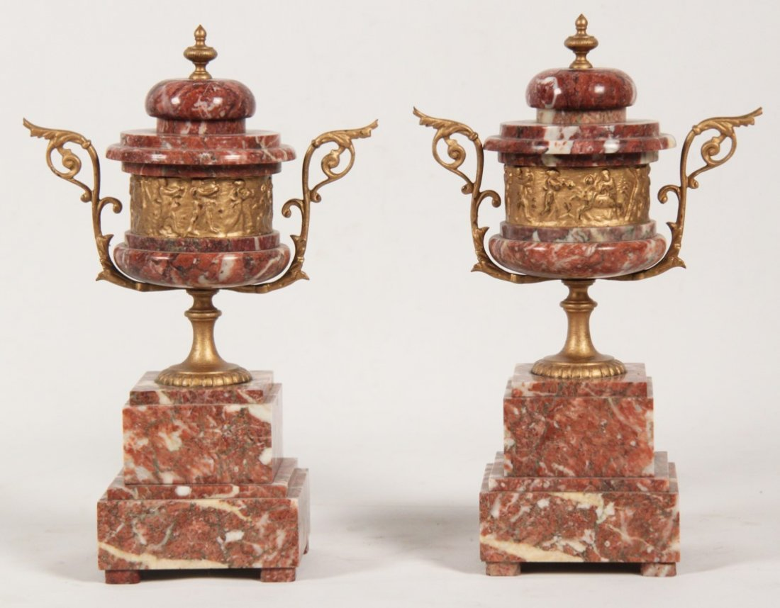 PAIR OF FRENCH ROUGE MARBLE COUPS