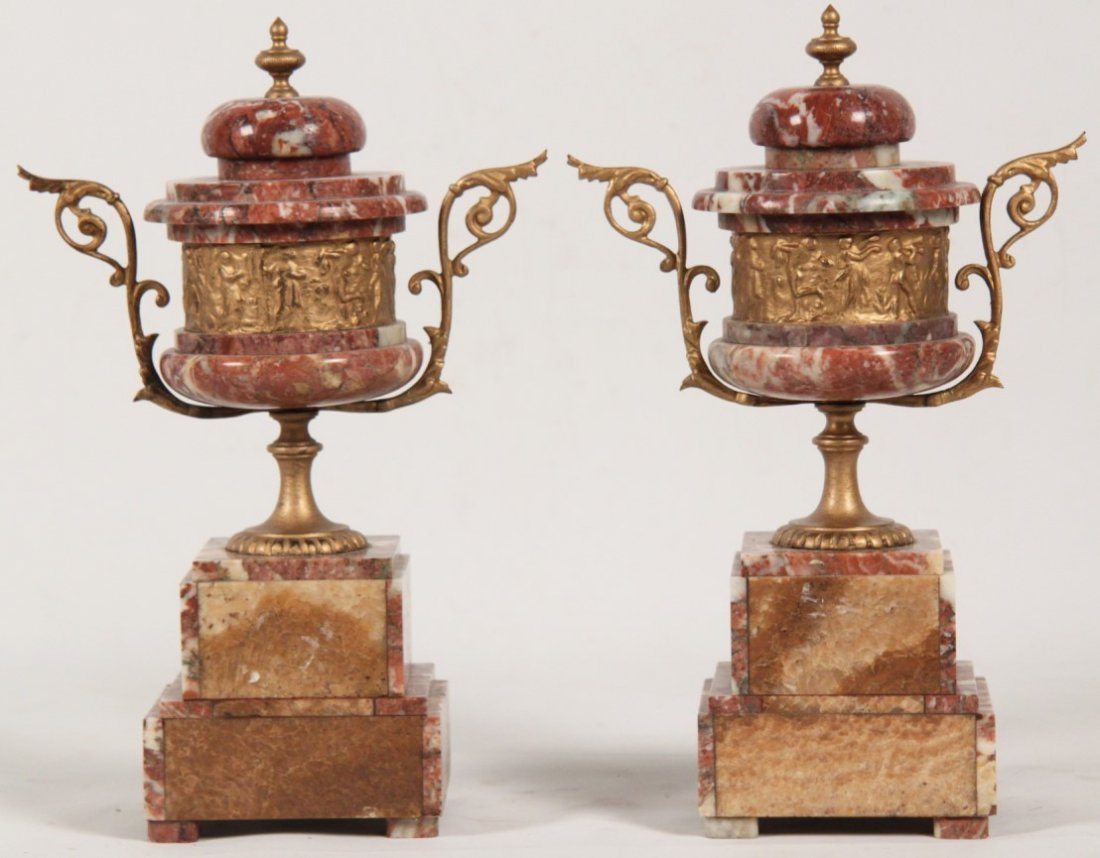 PAIR OF FRENCH ROUGE MARBLE COUPS - 2