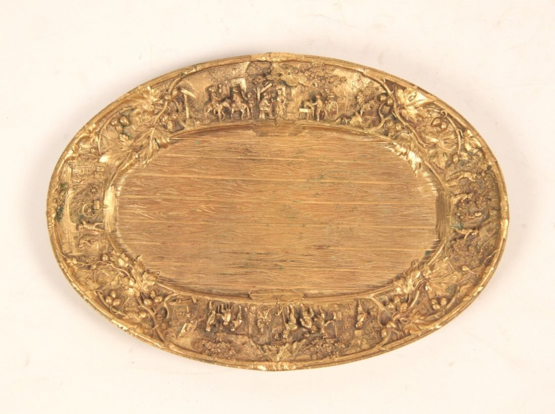 GILT BRONZE OVAL TRAY WITH INTRICATE RELIEF WORK