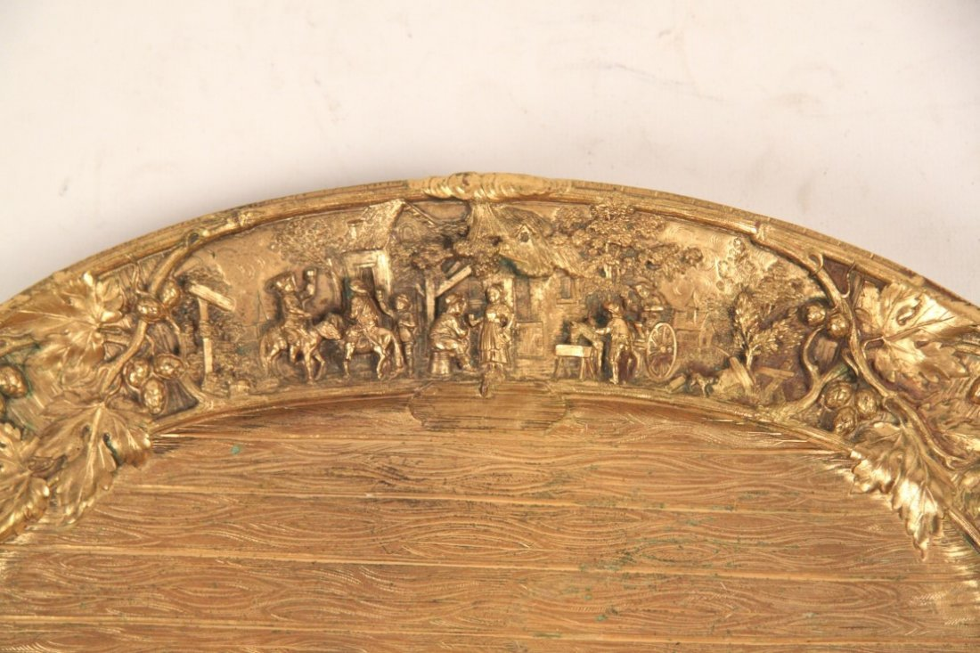 GILT BRONZE OVAL TRAY WITH INTRICATE RELIEF WORK - 2