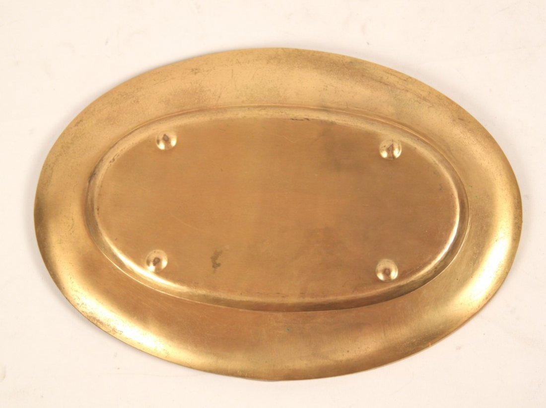 GILT BRONZE OVAL TRAY WITH INTRICATE RELIEF WORK - 3