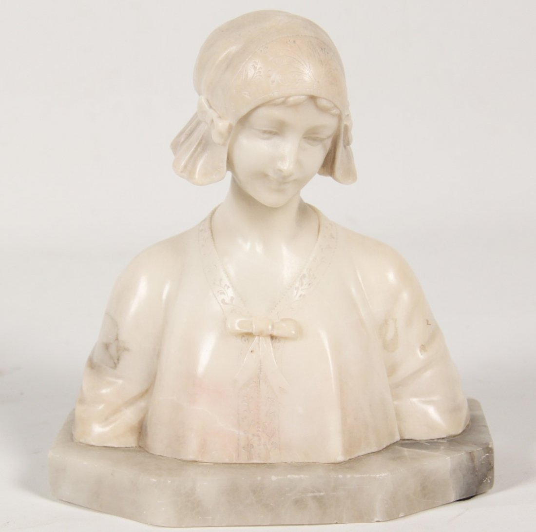 ALABASTER BUST OF YOUNG GIRL