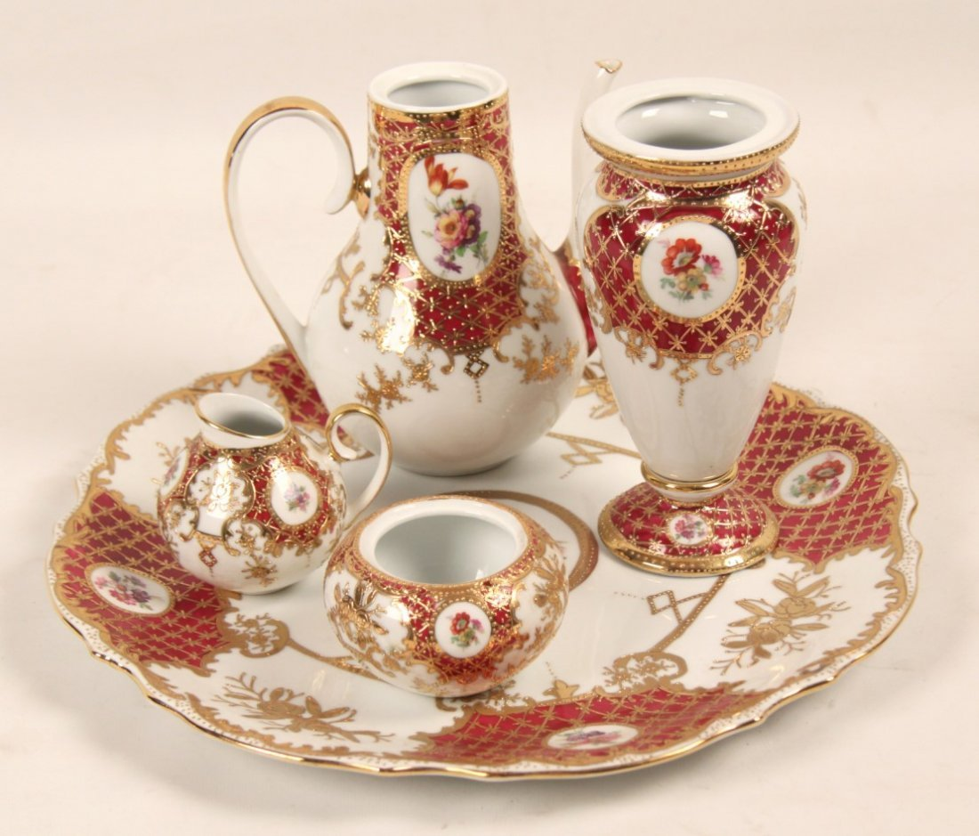5 PIECE GOLD EMBOSSED GERMAN KPM PORCELAIN TEA SET