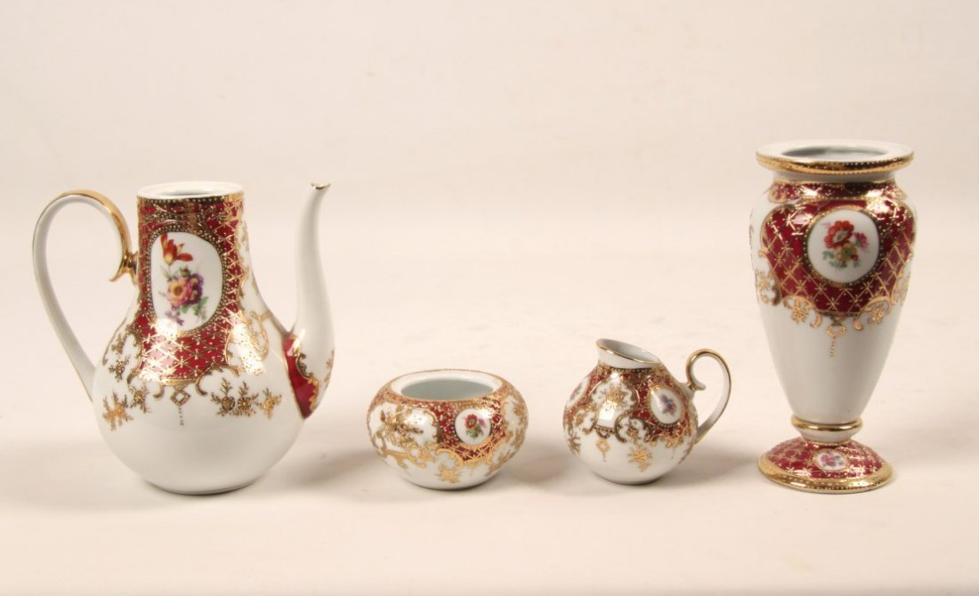 5 PIECE GOLD EMBOSSED GERMAN KPM PORCELAIN TEA SET - 2