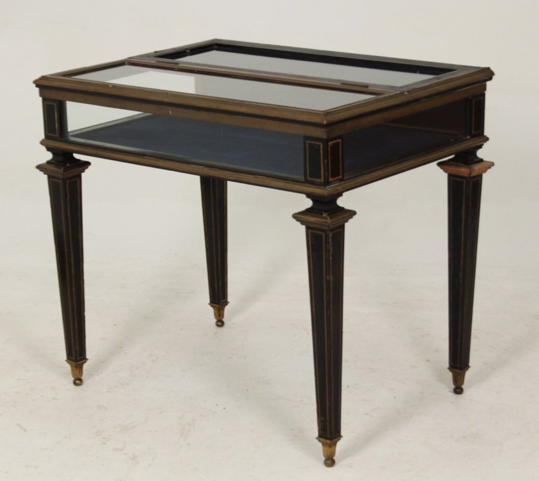 FRENCH NAPOLEONIC EBONY AND BRASS INLAID SPECIMEN TABLE