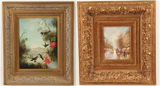 TWO DECORATIVE 20TH C OIL PAINTINGS