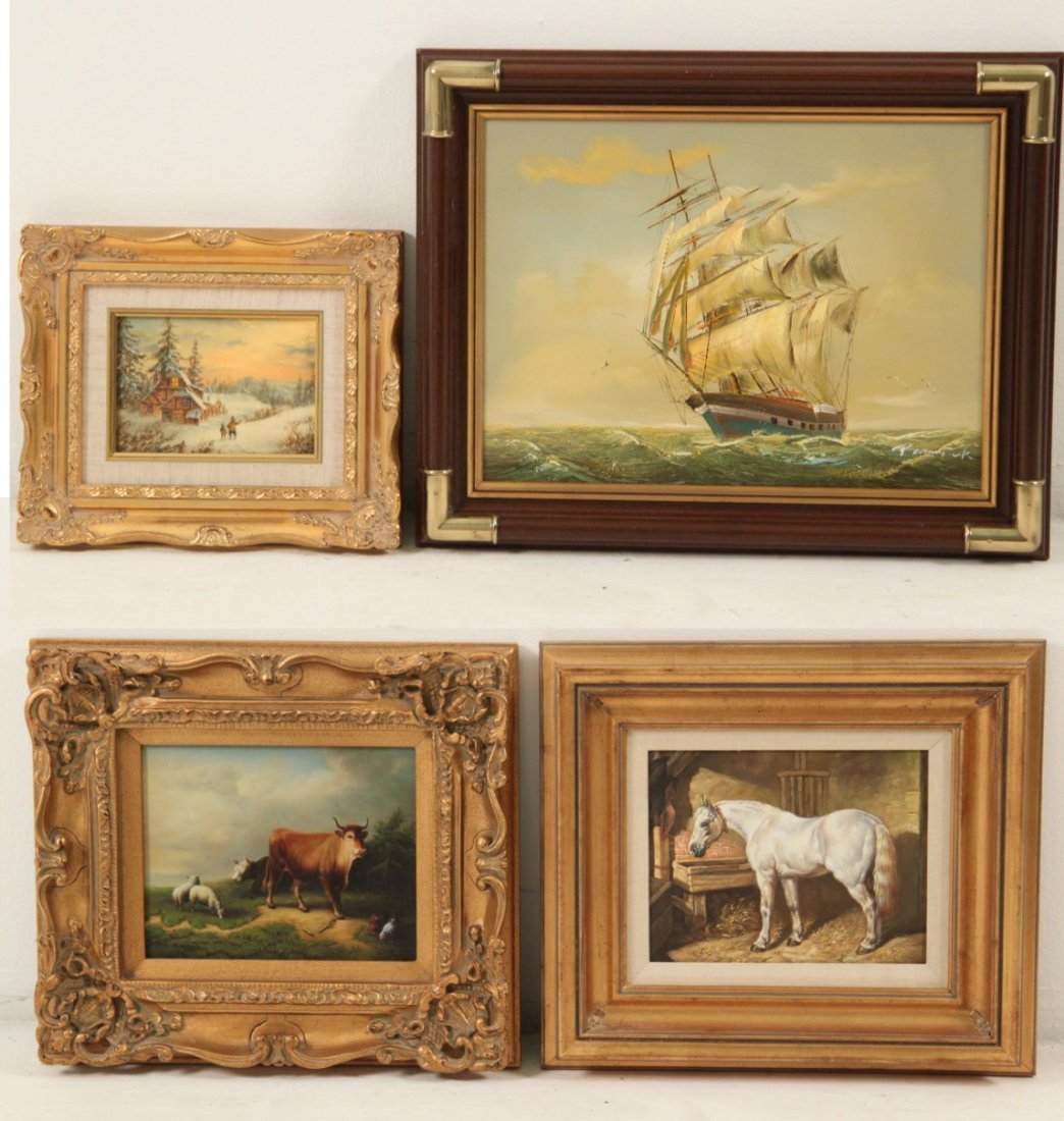 GROUP OF 4 DECORATIVE FRAMED OIL PAINTINGS