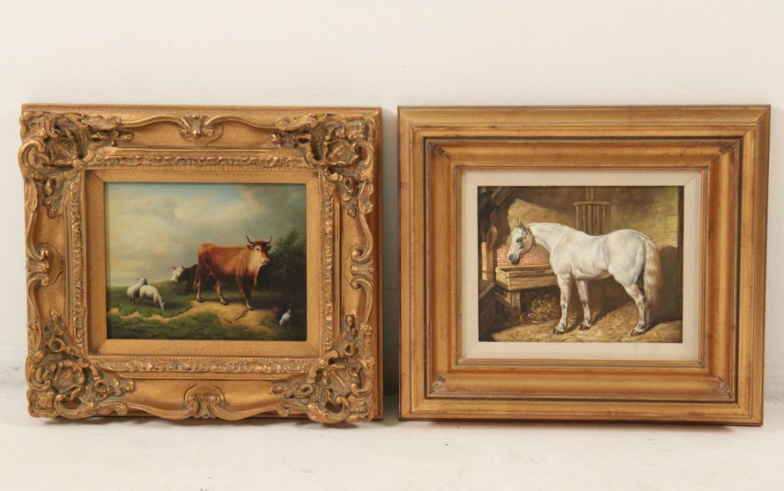 GROUP OF 4 DECORATIVE FRAMED OIL PAINTINGS - 2