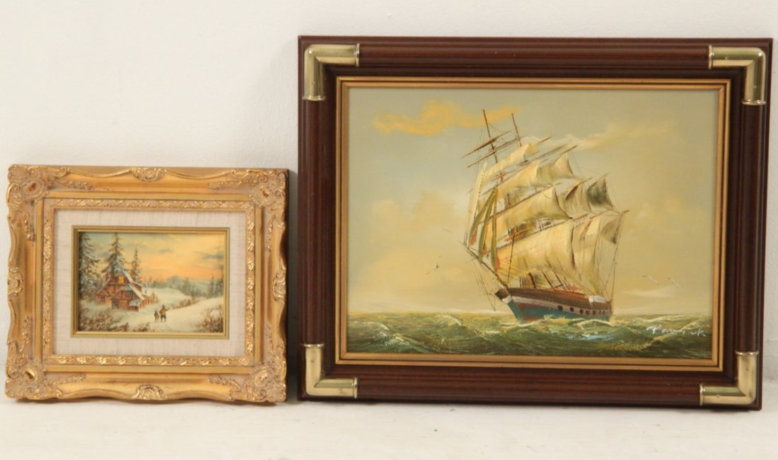 GROUP OF 4 DECORATIVE FRAMED OIL PAINTINGS - 3