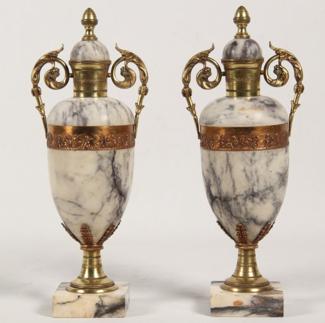 PAIR OF WHITE AND GREY VEINED MARBLE CASSOLETTES