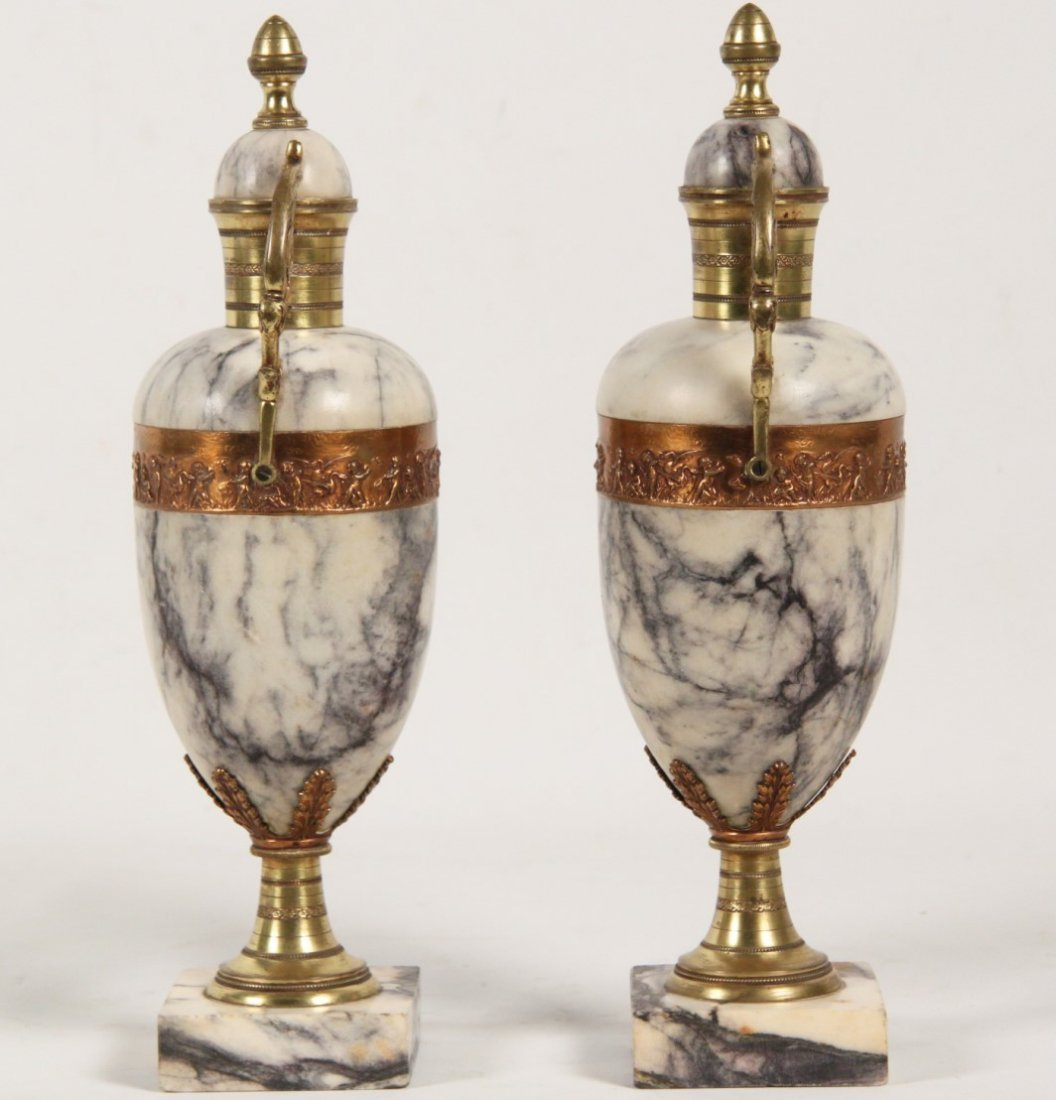 PAIR OF WHITE AND GREY VEINED MARBLE CASSOLETTES - 3
