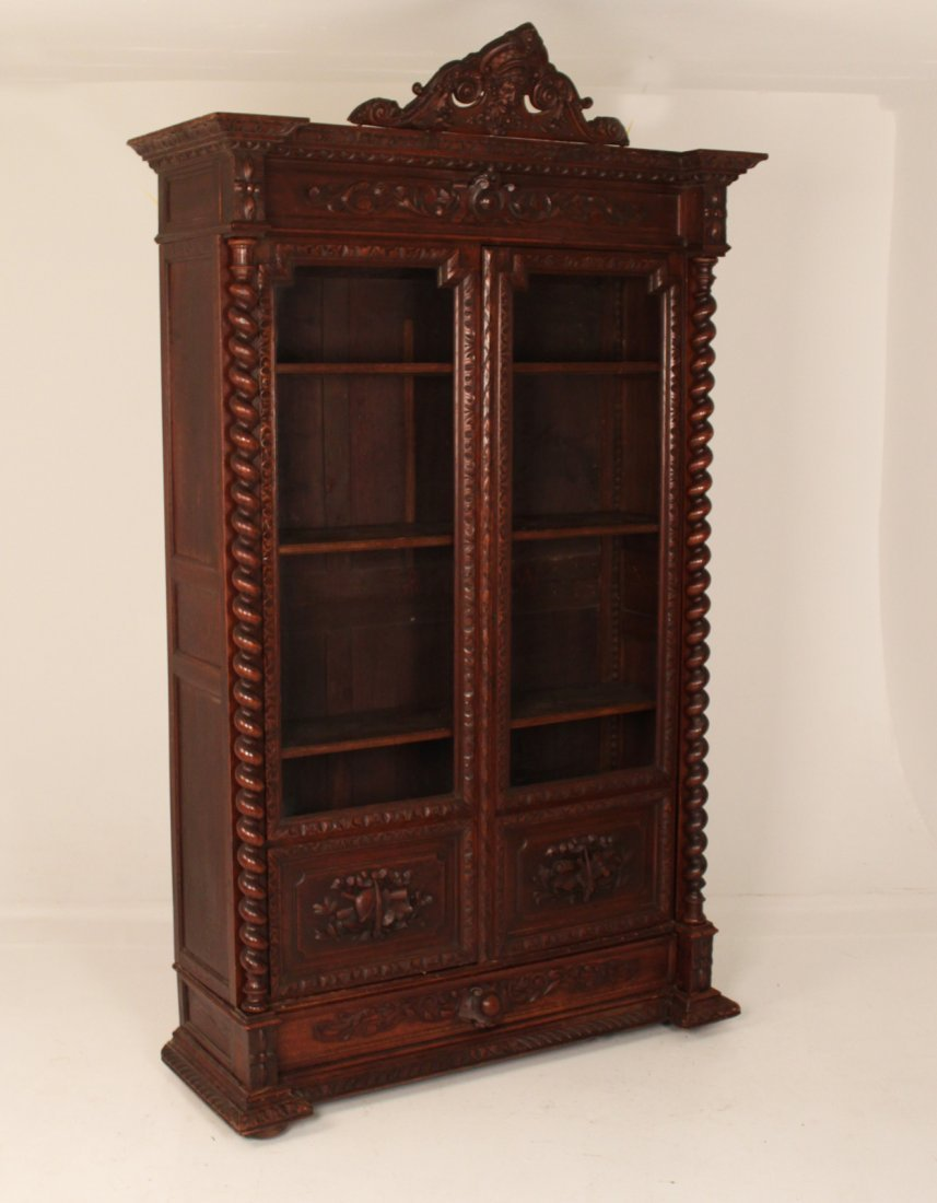EUROPEAN CARVED OAK 2 DOOR BOOKCASE
