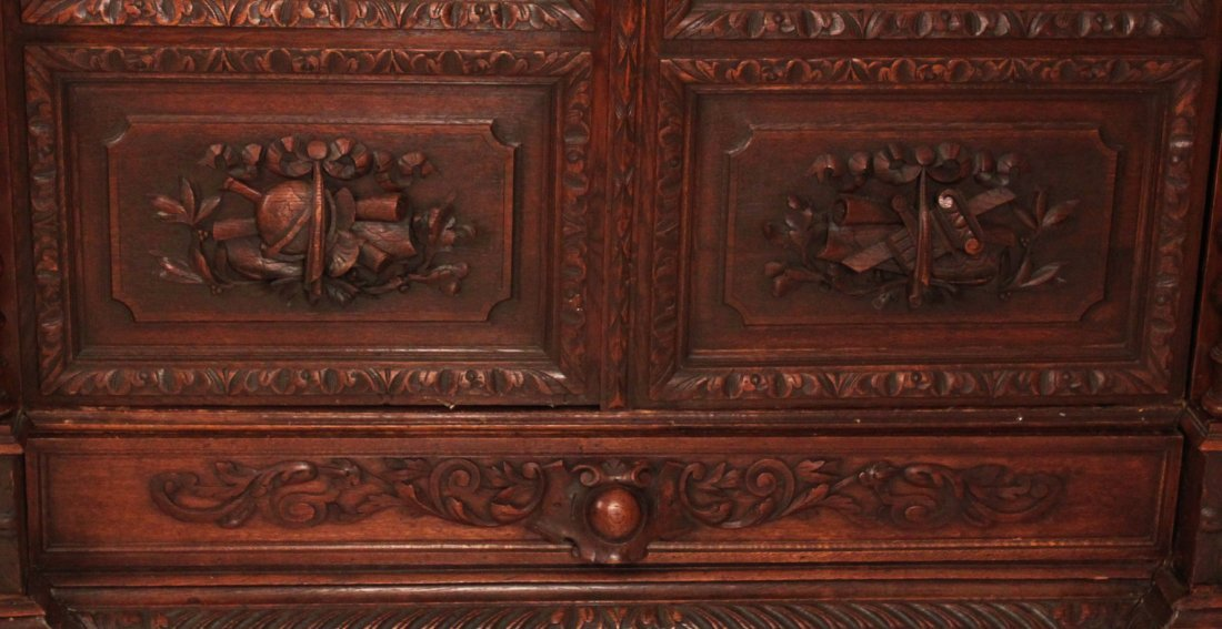 EUROPEAN CARVED OAK 2 DOOR BOOKCASE - 3