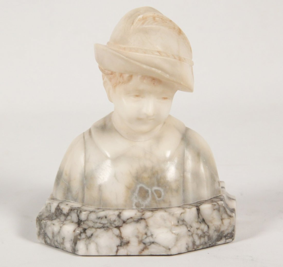 SMALL ALABASTER BUST OF YOUNG BOY