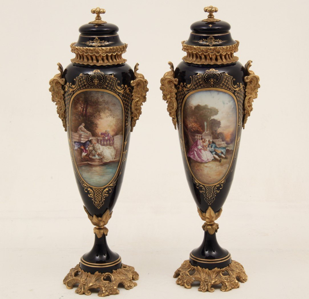 """PAIR OF 30"""" SIGNED FRENCH SEVRES PORCELAIN CAPPED URNS"""