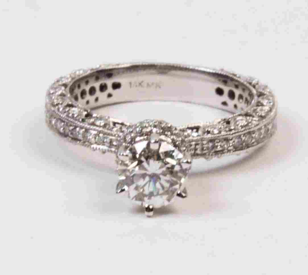 14K WHITE GOLD 0.90 CT DIAMOND SOLITAIRE RING